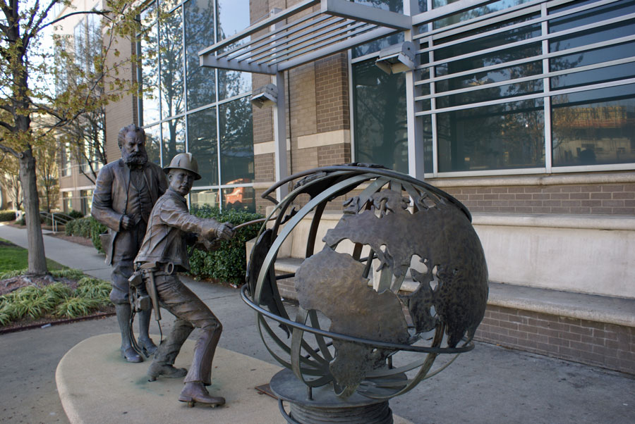 tribute to Alexander Graham Bell  just outside of the ATT building.  A time before cell phones