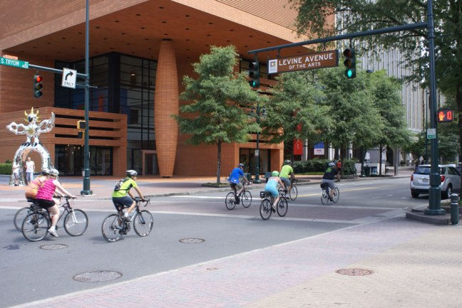 Bicyclist in Uptown Charlotte