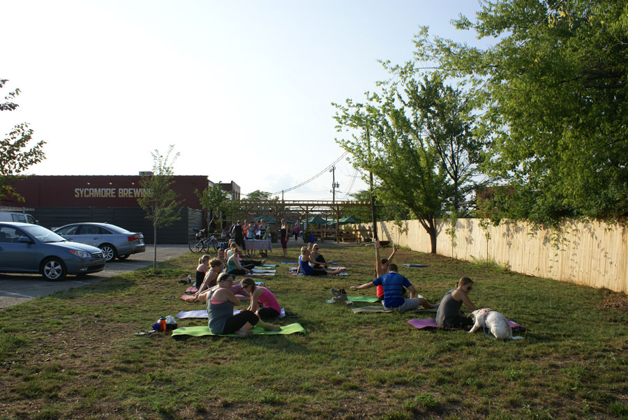 enjoying yoga at Sycamore Brewer in the Southend near Uptown Charlotte