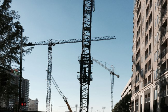 Construction cranes in Uptown Charlotte