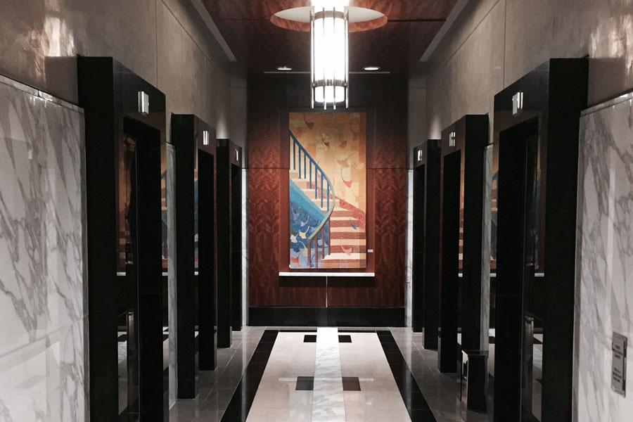 staircase art in elevator lobby