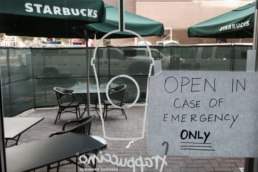 Starbucks open in case of emergency. A sign seen in Uptown Charlotte.