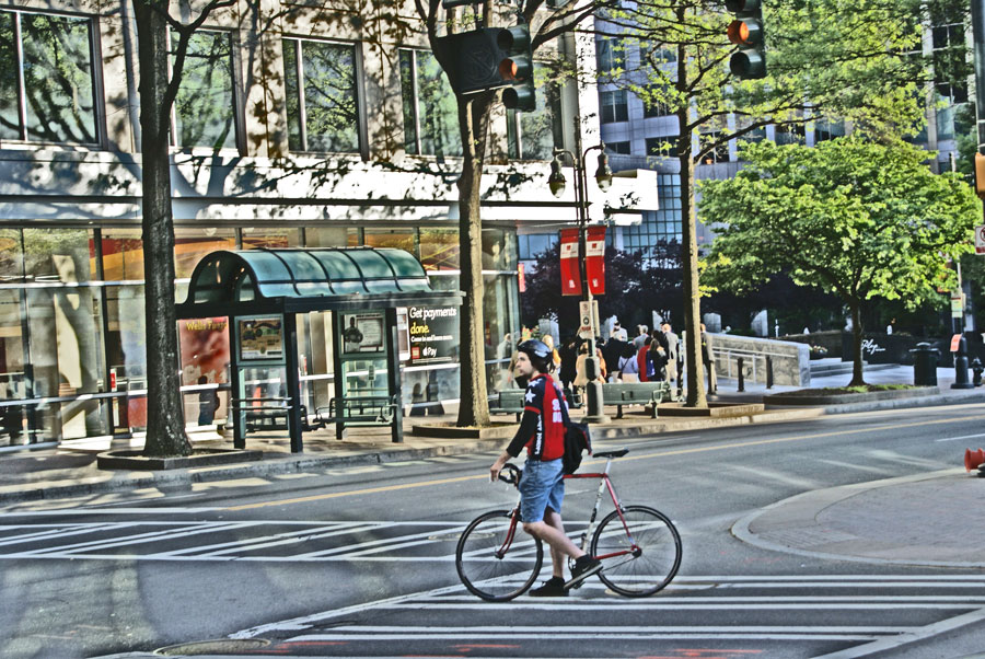 A Jimmy Johns delivery cyclist in Uptown Charlotte