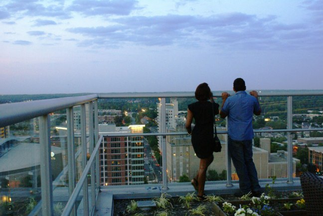 A couple enjoying the view of Uptown Charlotte