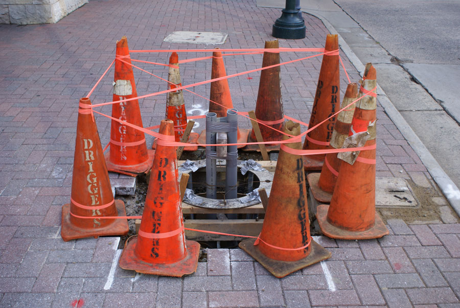 Driggers caution cones in Uptown Charlotte