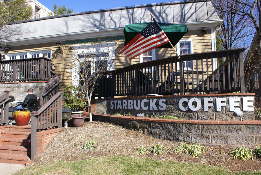 One of our favorite places is the Starbucks on East Boulevard in Dilworth near Uptown Charlotte