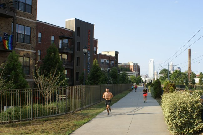 jogging in the Southend with Uptown Charlotte in the background.