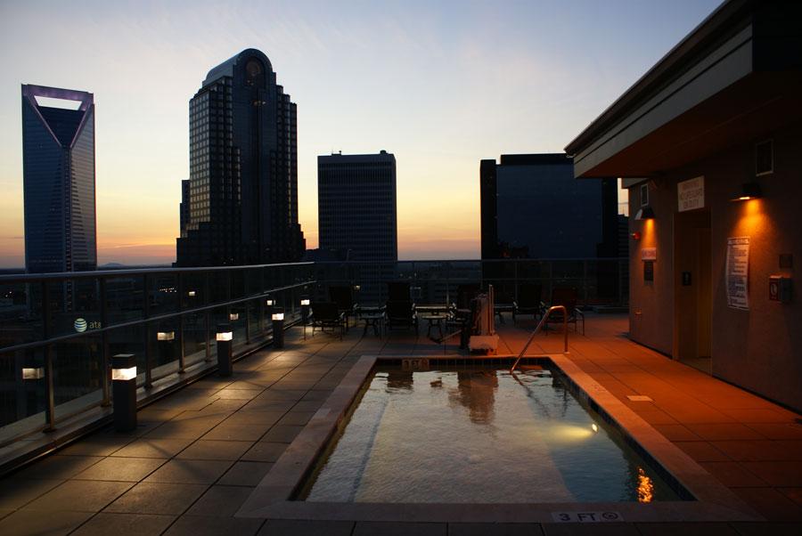 the Skye condo swimming pool in Uptown Charlotte