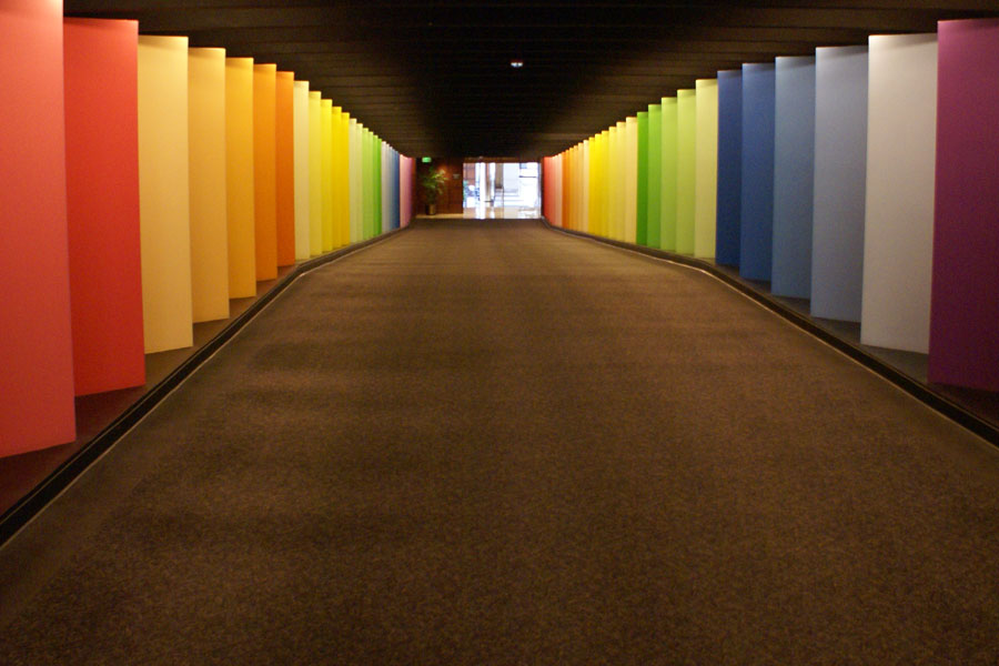 Colorful hall connecting office buildings in Uptown Charlotte