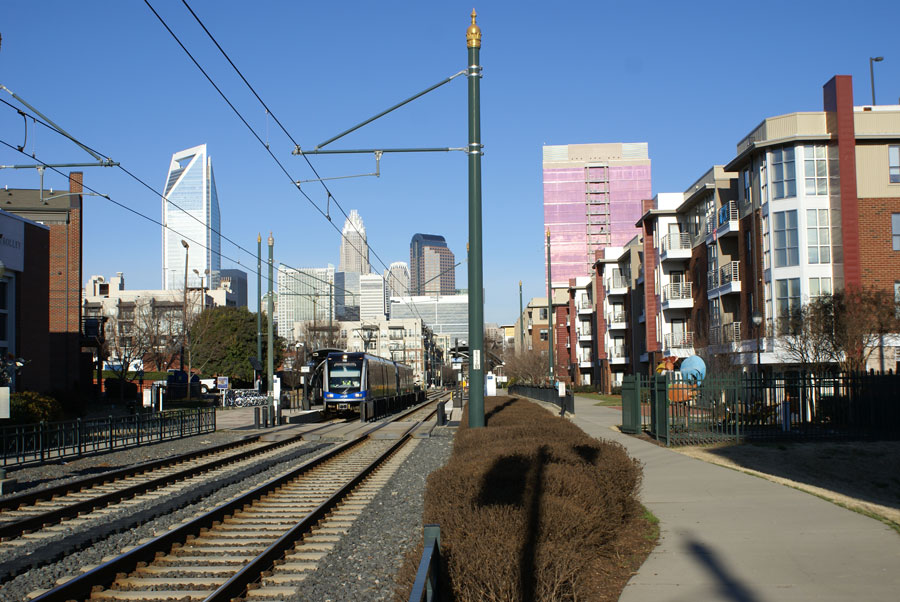 A lightrail station in the South End near Uptown Charlotte.
