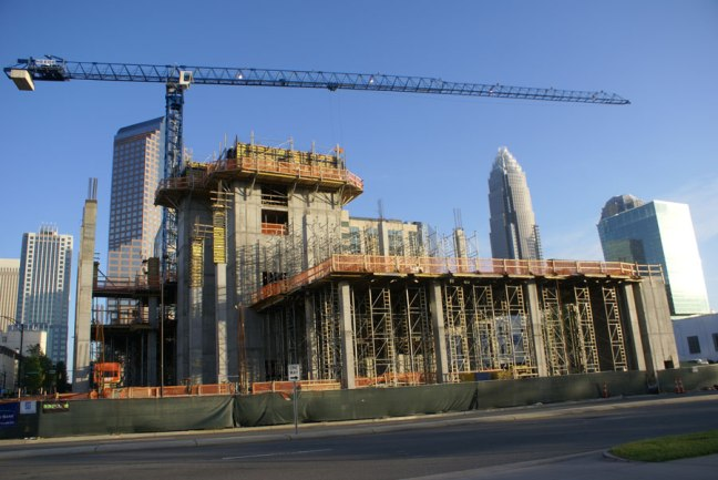 The Embassy Suites under construction in Uptown Charlotte