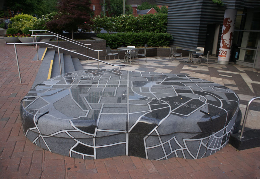 An interesting piece of art, at street map you can walk on, is found at the  Harvey B. Gantt Center for African-American Arts and Culture in Uptown Charlotte