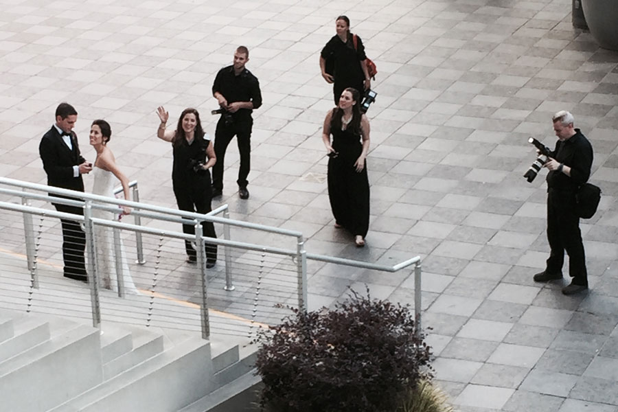 A bridal photo shoot on the steps of the Mint Museum in Uptown Charlotte