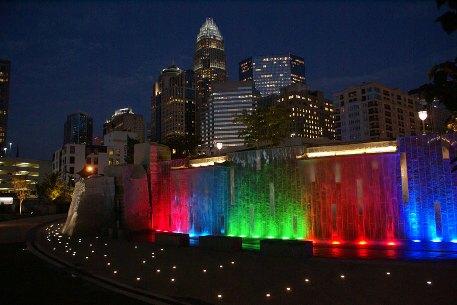 the waterfalls at Romare Bearden Park