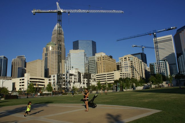Construction near Romare Bearden Park in Uptown Charlotte