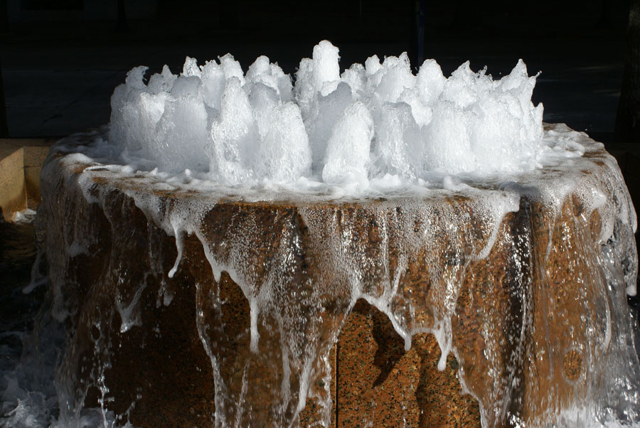 Enjoying a fountain at One Wells Fargo plaza in Uptown Charlotte