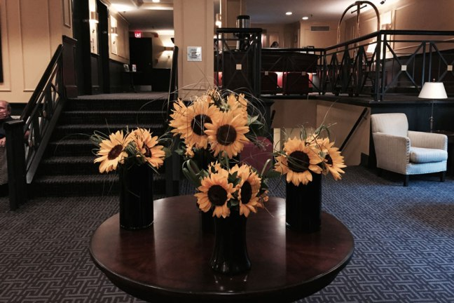Dunhilll sunflowers in the lobby