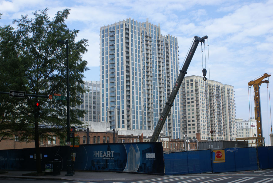 Construction at 300 S Tryon the heart of Uptown Charlotte