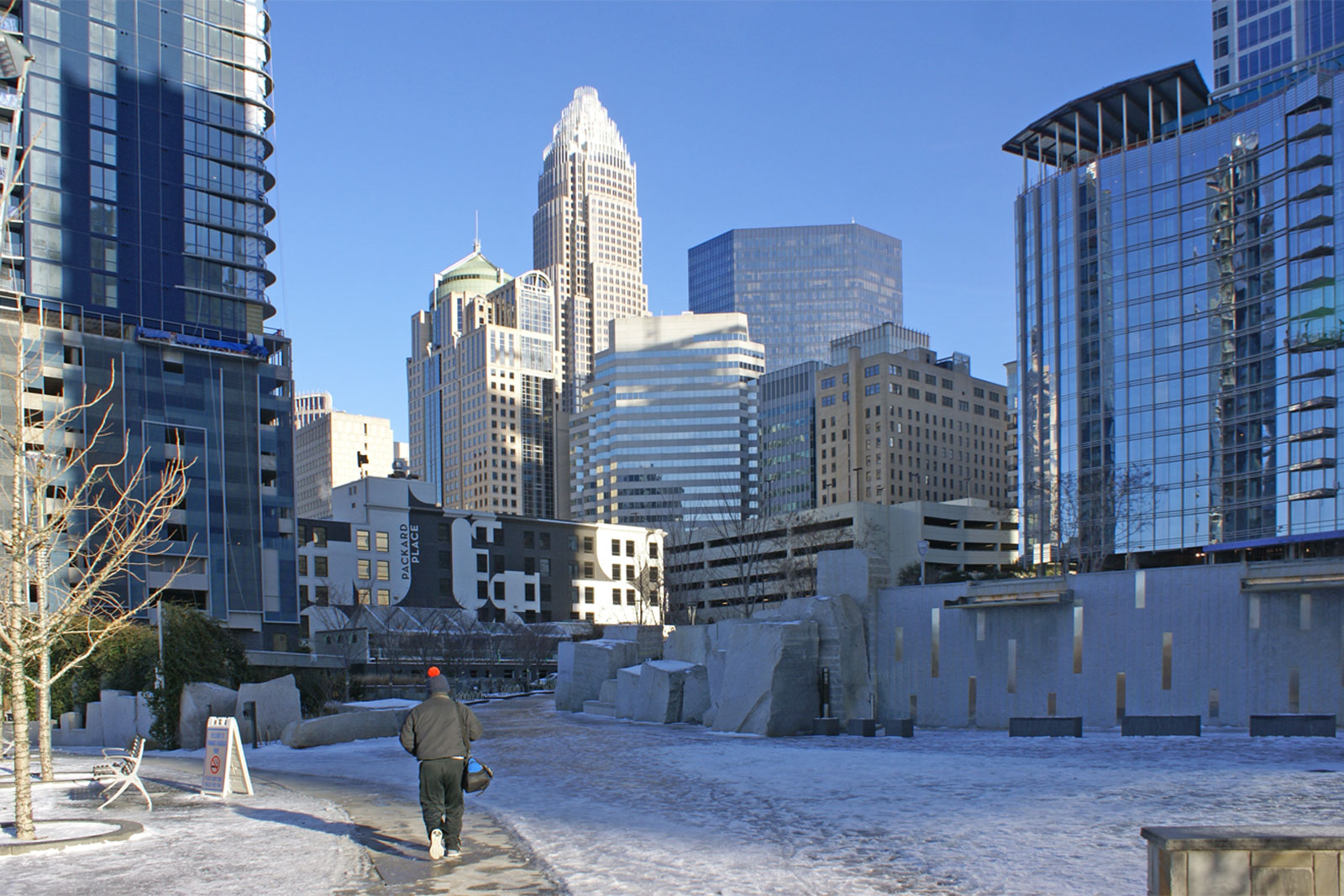 icy conditions in Uptown Charlotte