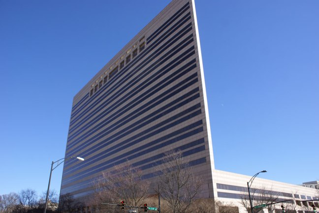 A thin building, at least what appears to be a thin building.  The Mecklenburg Government Center (CMGC) in Uptown Charlotte